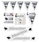 Feste Feiern zur Kommunion | 3 Teile Wimpelkette Absperrband Deckenhänger Fallschirm I Party Deko Set Kommunion