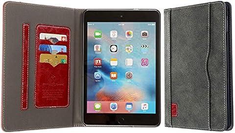 3Q Luxueuse Coque iPad Mini 4. Nouveau Mai 2016. Housse étui iPad 4 mini 4 eco-cuir Luxueux. Top Design exclusif Suisse. Gris