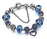 BS - Nouveauté Bracelet Charms - Plaqué Argent, Breloques Cristal et Verre Véritable - Bleu Glace Profond - Collection 'Boîte de Pandore' Exclusive 2017