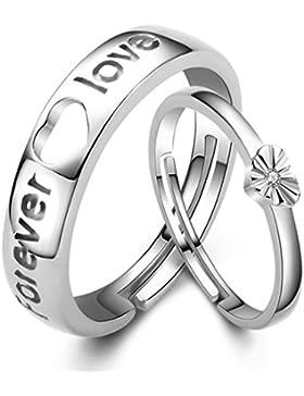Chaomingzhen 925 Sterling Silber Gravur Forever Love Herz öffnung Ringe für Paare Einstellbare Größe