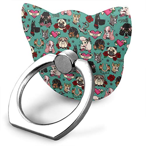 best& Tattoo Dogs- Teal_15984 360 Degree Swivel Creative Ring Buckle Bracket Multi-Functional Ring Bracket Stand for Universal Phone