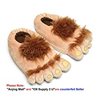 Geekbuzz Novelty Furry Monster Adventure Slippers, Comfortable Warm Winter Hobbit Feet Slippers for Adults