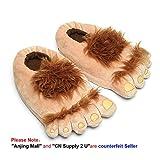 Luxugen - Pantofole 'Furry Monster Adventure' a forma di piedi di Hobbit, calde e confortevoli per l'inverno - per adulti