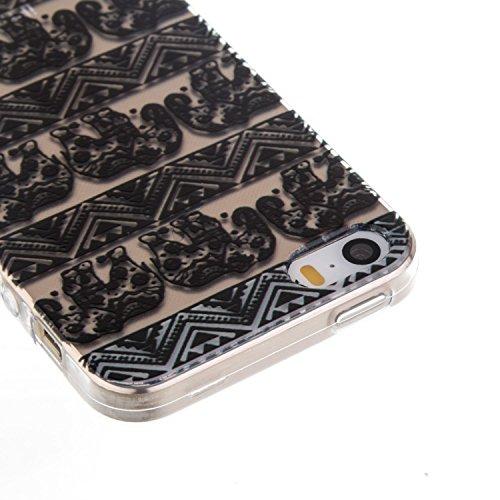CaseHome iPhone SE/5S/5 Durchsichtig Silikon TPU Hülle Elegantes Stilvoll Hübsches Muster Druckte Entwurf (Mit freiem HD Schirm-Schutz) Gummi Silikongel Retro Klassiker Stoßstange Weicher Stoßdämpfer- Gestreifte Elefant