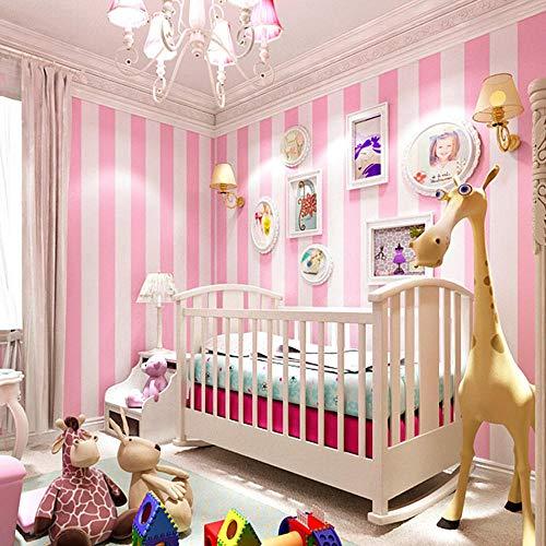 jasmineXDLstore Prinzessin Zimmer voller Shop Mädchen Herz rosa Tapete Schlafzimmer Damenbekleidungsgeschäft voller Shop Plain Hotel Dekoration Kinderzimmer, White Streifen