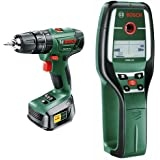 Bosch PSB 1800 LI-2 Cordless Lithium-Ion Hammer Drill Driver with 18 V Battery and Multi-Detector