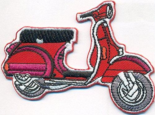 Rote Old School VESPA Roller Vintage Motorrad Piaggio Motorcycle Biker Patch Aufnäher Roller-patch
