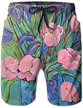Pink and Purple Tulips Blossom Men's/Boys Casual Quick-Drying Bath Suits Elastic Waist Beach Pants with Pockets