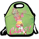 Flamingo Love Cheers Lunch Tote Bag Zipper Reusable Lunch Box With Shoulder Strap