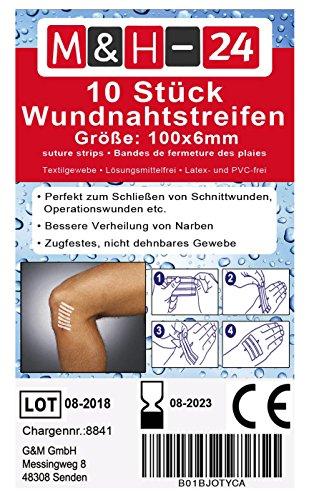 10er Set Wundnahtstreifen-Strips/Klammerpflaster Nahtmaterial Wundverschluss-Streifen Steril 6 x 102 mm