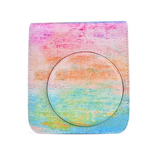 Elerose Tasche Hülle für Fujifilm Instax Mini 70,PU Leder Kamera Tasche mit Gurt(Regenbogen) -