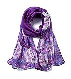 Invisible World Foulard Seta da Donna 100% con Rosa y Fiori Lunga Dipinta a Mano per Collo, Testa o Capelli - Viola