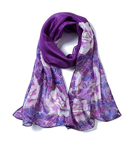 Invisible World - Damen Seidentuch, handbemalt, Rosen - langes Halstuch, Kopftuch und Haartuch - Lila -