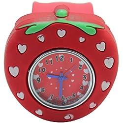 1Pc Fashionable Cute Children Kids Students Strawberry Styke Wrist Watch Red New