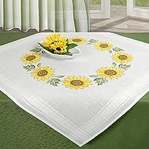 Juego de bordado GIRASOL / Juego completo de mantel previamente dibujado para el bordado en punto de cruz / Kit de bordado de flores