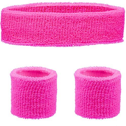 Neon Pink Headband and Wristband Set