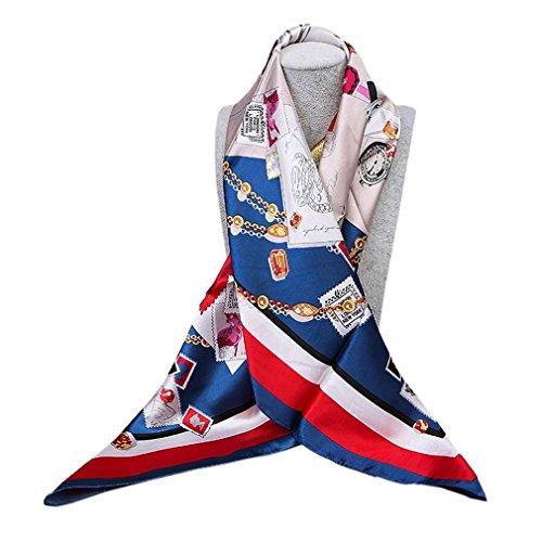 cbbb776a72c0 Xiang Ru Femme Vintage Grand Foulard Carré Soie Imité Imprimé Business 90    90CM Style
