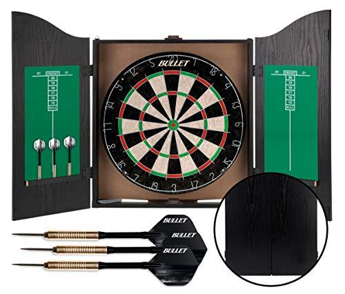 Bullet Dartschrank aus Holz, Board aus Borsten-Sisal, 6 Steeldarts, mit Scoreboard im Inneren