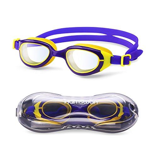 HAMSWAN CF-6500 Kinder Schwimmbrille klare Sicht Kein auslaufender Anti-Beschlag UV-Schutz für Kinder Jungen und Mädchen mit freiem Schutzhülle (Lila und Gelb)