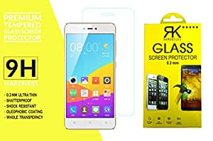 RKMOBILES Gionee F103 Pro Tempered Glass, 9H Hardness Ultra Clear, Anti-Scratch, Bubble Free, Anti-Fingerprints & Oil Stains Coating (Note: Covers only the front display and not the curved sides) + Free Cleaning Kit Inside