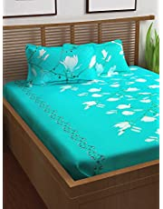 Story@Home 120 TC 100% Cotton Prism Collection Elegant Floral Pattern 1 Double Bedsheet with 2 Pillow Cover - Aqua Green