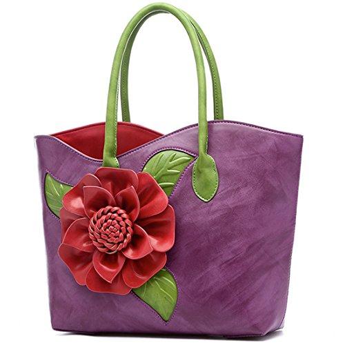 KAXIDY Damen Blume PU Leder Handtaschen Damen Henkeltaschen Elegante Umhängetasche Schultertasche Violett