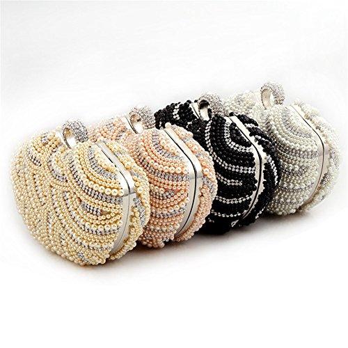 ERGEOB® Donna Clutch sacchetto di sera borsetta fatto a mano Clutch perla diamante Anello fibbia sacchetto di sera bianco