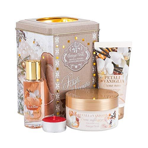 Bottega verde - confezione regalo lanterna petali di vaniglia - set linea pepe rosa - crema mani, crema soufflè corpo, eau de toilette, candela inclusa nella confezione decorativa in metallo