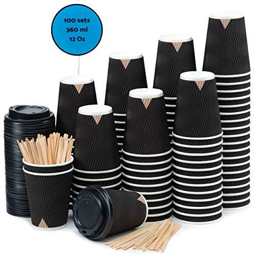 100 Schwarz Gewellt Pappebecher Coffee To Go 360 ml 12 Oz mit Deckel und Holz Rührstäbchen Zum Servieren von Kaffee, Tee, heißen und kalten Getränken