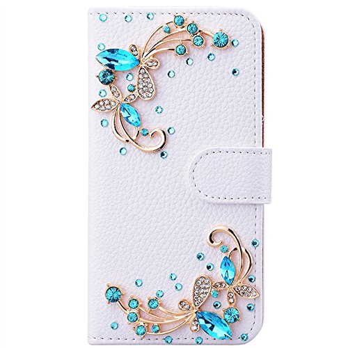 iPhone 7 Hülle, Yokata Luxury Flip PU Leder Case mit DIY Perle Schutzhülle Bling Glitzer 6D Cover Standfunktion und Kreditkarte Tasche Wallet Schutzhülle Orchidee