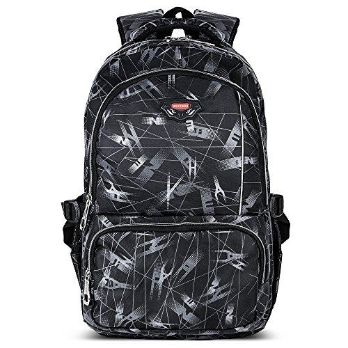 Kinder Weitermachen, Rucksack (AOKE Cool bedruckte Jungen Tagesrucksack Rucksack Bookbag mit Laptopfach passend für 14-Zoll-Notebook grau)