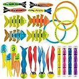 Prextex 24-teiliges Tauch-Spielzeug-Set für den Sommer, spaßiges versinkendes Swimming Pool Unterwasserspielzeug für Kinder