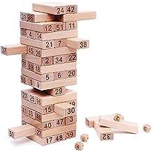 NimNik Games Tumbling Tower Il Classico Gioco Della Torre, La Torre Che Crolla gioco Divertente per Bambini - 54 Pezzi Idea Regalo