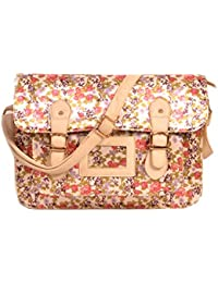 New Flower Design Multicolour Silk Handbag Cum Sling Bag For Women & Girls By Bagris GE01001609