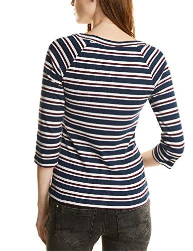 Street One Multicolor Stripe Shirt, T-Shirt Donna Blau (Night Blue 30109)