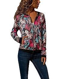 bc337083fc2b Femme Veste Motard Court Zippe a Motifs des Fleurs Bombers Jacket Printemps  Autonme Femmes Fashion Fleuri