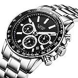 Uhren, Uhren Herren , Luxus Business Waterproof Multifunktions mit Kalender Analog Quarzuhr Männer Edelstahl Fashion Armbanduhr Mann Runde Silber Uhr