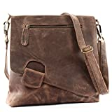 LECONI Umhängetasche Damen-Tasche Crossbag Rinds-Leder Natur Schultertasche Vintage-Look...
