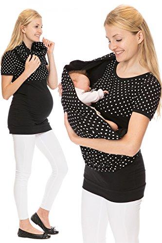 GoFuture Damen Set (3in1 Shirt + Tuch) Umstandsshirt Stillshirt Abbey GF2378 Schwarz plus weiße Punkte auf Schwarz
