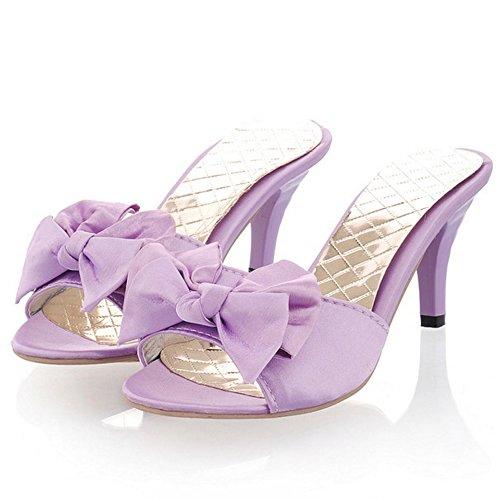TAOFFEN Damen Mode-Event Schlupfschuhe Slide Shoes Bogen Open Back Absatz Sandalen 938 Violett