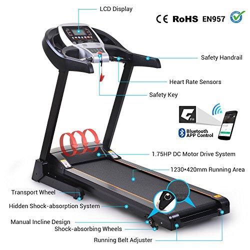 Pairkal Elektrisch Laufband 3.5HP Elektrisches Fitnessgerät mit Bluetooth Control App Heimtrainer mit LCD Bildschirm für Gym, Haus, Büro Trainingsgeräte