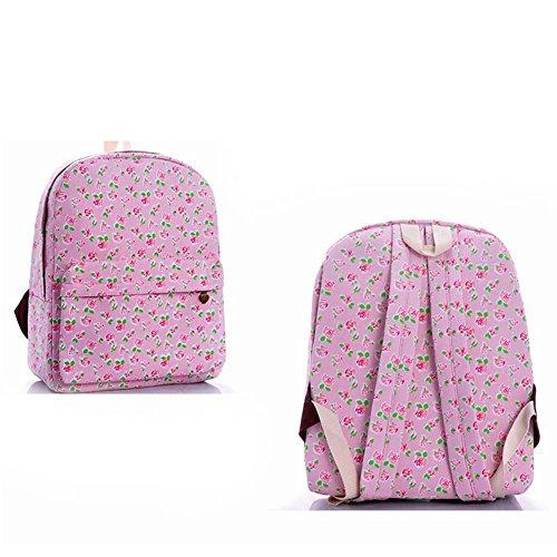 Borsa blu e viola vintage floreale stampato sacchetto di zaino per scuola della borsa del computer portatile dello zaino della tela di canapa per le ragazze delle ragazze delle ragazze Rosa Rosa