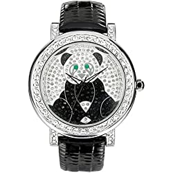 JSDDE 3ATM Waterproof Japanese Quartz Watch Women Men Crystal Rhinestone Panda Watch Black Leather Band