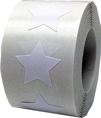 Blanco Estrella Pegatinas, 19 mm 3/4 Pulgada Ancho, 500 Etiquetas en un Rollo