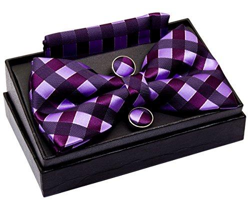 Retreez Herren Gewebte vorgebundene Fliege Klassische Karo 13 cm und Einstecktuch und Manschettenknöpfe im Set, Geschenkset, Weihnachtsgeschenke - violett und hellviolett