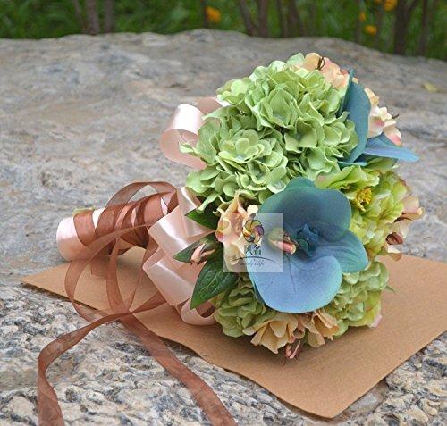 Yxhflo Emulation Blume Blumen Hochzeit Kunst Brautsträuße, Grün-Blaue Kugel Der Champagner Farbe Schmetterling Orchidee Graue Pappteller Und Servietten