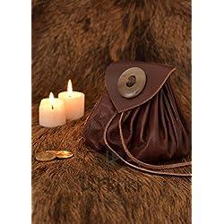 Unbekannt Monedero con Cuerno botón, Color marrón Oscuro Piel Bolsa, Grande Piel–Vikingo–Larp–Medieval