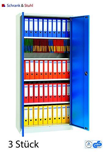 Stahlschrank-SET | 3 Aktenschränke | grau / blau - KOMPLETT MONTIERT