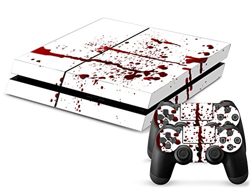 Skins4u-Playstation-4-PS4-Skin-Design-Folie-Aufkleber-Vinyl-Sticker-Set-2-PS4-Controller-Skins-Blood