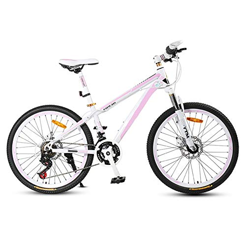 HLMIN Klappfahrrad 24-Gang / 27-Gang-Fahrrad Mit Vollfederung 26-Zoll-Offroad-Rennen , 2-farbig (Color : White+pink, Size : 24Speed)
